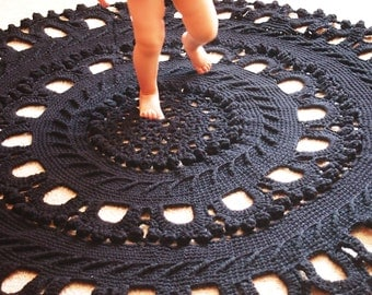 "62"" Wool Crochet Large Rug, Rug Round Crochet, Made To Order"