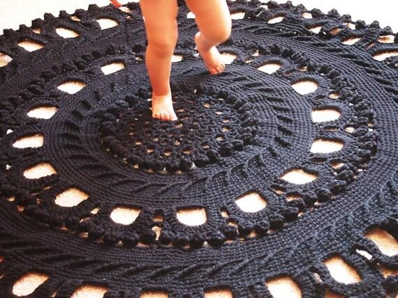 laine crochet de 62 grand tapis tapis rond au crochet fait. Black Bedroom Furniture Sets. Home Design Ideas