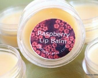Raspberry Lip Balm with Candelilla Wax and Shea Butter, Vegan