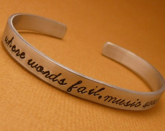 Hans Christian Anderson Inspired - Where Words Fail, Music Speaks - A Hand Stamped Bracelet In Aluminum or Sterling Silver