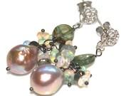 Watermelon Tourmaline Slice Earrings Pondslime Baroque Pearl Earrings Tourmaline Jewelry Opal Earrings Oxidized Earrings October Birthstone