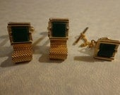 Vintage Swank goldtone cufflinks and tie tack with green stone