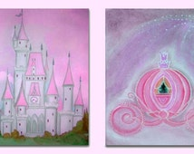 Princess baby room, Fairy Princess Decor, Nursery Wall Art, Fairytale, Pink, Purple, Castle, Princess Carriage, Cinderella, Set of 2 Prints