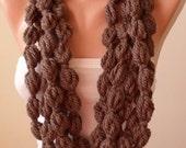 Pale Brown Wool Infinity Scarf  - Crochet Scarf