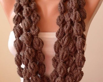 Pale Brown Wool Infinity Scarf  - Crochet Scarf