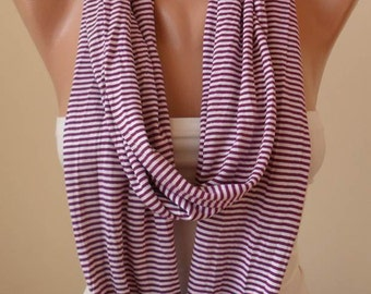 Purple Striped Infinty Scarf  - Circle -  Loop Scarf - Combed Cotton Fabric