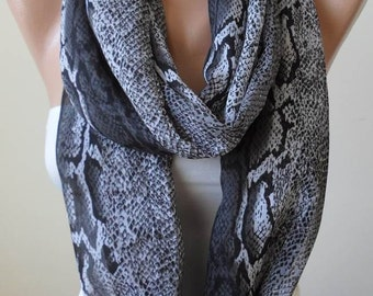 New - Gift - Gray Snake Skin - Circle -  Loop Scarf - Chiffon Fabric