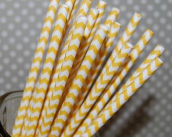 paper straws yellow Chevron Straws 100 paper straws & Flags - chevron stripe drinking straws - zig zag cake pop sticks vintage party straws