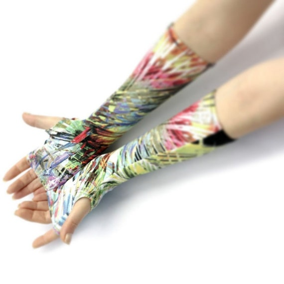 Spring Sunshine -Fingerless gloves , arm warmers , mittens Tribal Floral - Yoga Bellydance Bohemian Mehndi Gothic Paisley Light Boho Goth