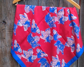 Vintage Scarf Maple leaf pattern red voilet blue peach white polyester Made in Italy