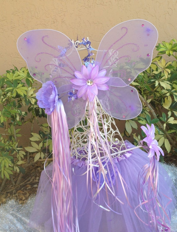Fairy Princess Purple Wings, Princess Ballet Tutu, Fairy Wands and Princess Halo Party Favors, Tinkerbell Party, Fairy Costume