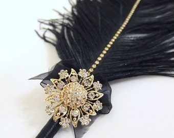 Large Elegant Black Feather Pen with Gold Sunflower Brooch / Wedding Signing Pen / Guest Book Pen / Wedding Reception Accessories /