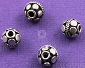 Sterling Silver Handmade Bali Bead w/ Flat Circle Disc Accents and Rope Detail, Oxidized Finish, Lovely Beading Accent, (2 Pieces) (BA5079)