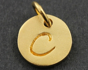 """24K Gold Vermeil Over Initial """"C"""" on a Disc Charm/ Letter Pendant with Soldered Jump Ring, Elegant Jewelry Component, (VM/2034/C)"""
