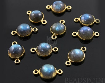 Natural Labradorite Bezel Round Component, 24K Gold Vermeil Over Sterling Silver, Incredible Blue Fire 17x10mm, 1 Peice, (LABR001-A)
