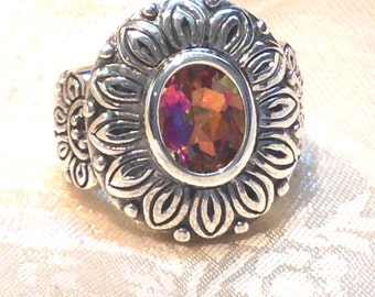 Fiery Mystic Topaz Ring in Sterling Silver Sunflower Setting
