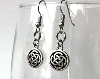 Silver Celtic Earrings, Irish Jewelry, Celtic Knot Round Dangle, Gift for Girlfriend