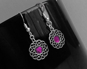 Hot Pink Dangle Earrings, Sterling Silver, Rocker Chic Jewelry, Customizable