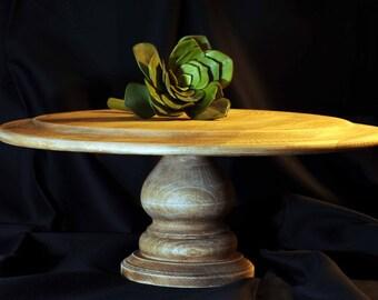 "Extra Large Round Pedestal Wood Cake Plate  - 14"""