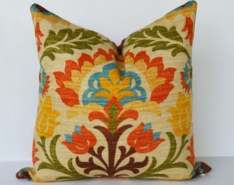 Decorative pillow 16x16'' accent Pillow with zig-zag stripe and floral wallpaper throw pillow pillow cover