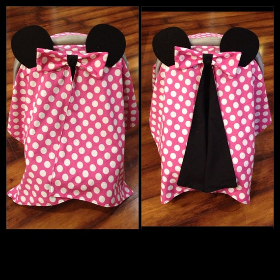Like this item? & Minnie Mouse Car seat canopy pink and white polka dot cotton