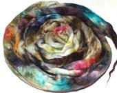 Superfine Merino Wool And Mulberry Silk 50/50 Blend Brick Form Destash Hand Dyed Spinning Felting Fiber 125 gm 4,25 oz