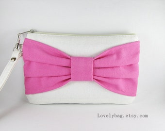 SUPER SALE - Ivory with Pink Bow Clutch - iPhone 5 Wallet, iPhone Wristlet, Cell Phone Wristlet, Camera Bag, Cosmetic Bag, Zipper Pouch