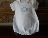 ON SALE Classic Cotton Personalized Monogram Baby Romper For a Boy or Girl for Baby's Christening, Baptismal, Dedication or Easter