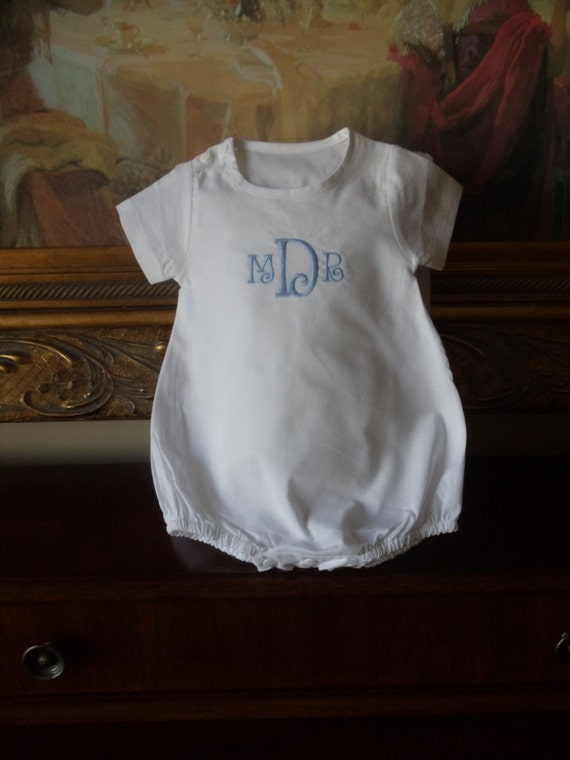 Classic Cotton Personalized Monogram Baby Romper For a Boy or Girl for Baby's Christening, Baptismal, Dedication or Easter