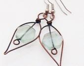 Green Fluorite Earrings Copper Earrings Wire Wrap Gemstone Earrings