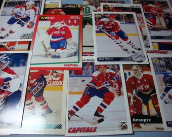 SALE -Vintage Team Lot of Washington Capitals Greats Hockey Cards -Star / Rookie / Hall Of Fame Lot -Ciccarelli, Bondra, Hunter, Hatcher,etc