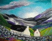 Welsh landscape art, wet felted landscape abstract.