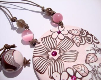 Pink cappucino pendant  polymer clay,  MADE TO ORDER