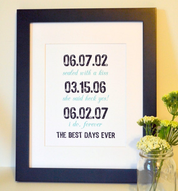 Engagement party art 11x14 Anniversary gift Gift for newly engaged couple Wedding gift Wedding sign Paper anniversary The best days ever art