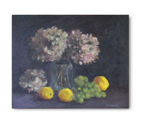 Hydrangea painting with lemons Original Oil Painting, hydrangea art, flower blossoms, bright yellow fruit, green grapes