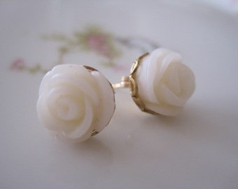 Little Cream Rose Post  Earrings