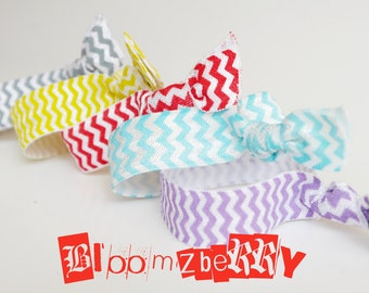 5 pcs CHEVRON PRINT Elastic Knotted Hair Ties  - Blue, Yellow, Red, Gray and Grape-  Toddler to Adult