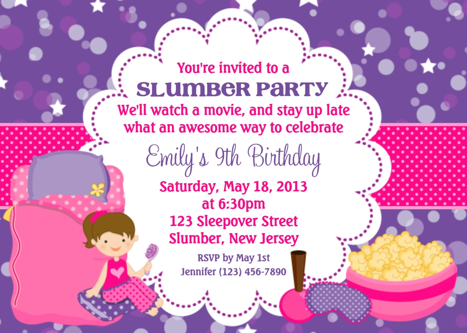 Slumber Party Invitation Personalized Custom Sleepover
