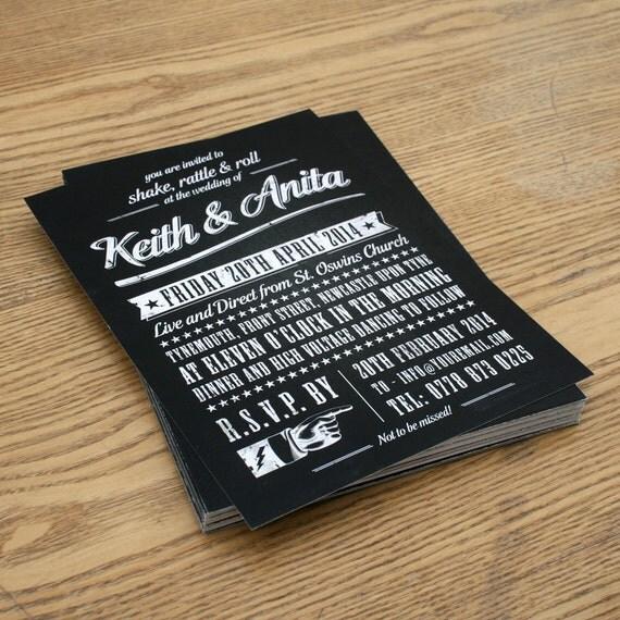 Rock N Roll Vintage Type Wedding Invitation Invite