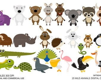 25 Wild animal Digital clip art for Personal and Commercial use - INSTANT DOWNLOAD