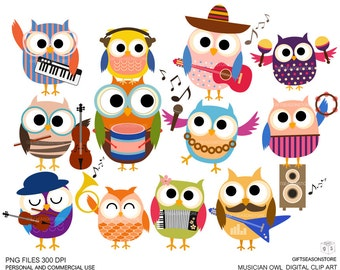 Musician owls Digital clip art for Personal and Commercial use - INSTANT DOWNLOAD