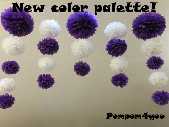 21 Pom Poms garland and 5 Free Tissue Paper flowers