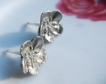 Little Flower Earrings - Post Style - Sterling Silver - Studs - Cast From Real Plants