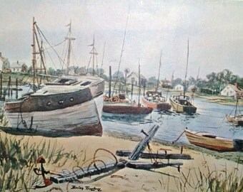 Vintage Nautical Wall Art Original Framed Lithograph Print Of Hyannis Harbor Watercolor By Brian Truelove