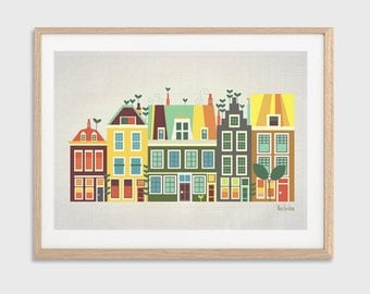 HOLLAND | Baby Went to Amsterdam Poster : Modern Holland Townhouses Illustration Retro Art Wall Decor Print
