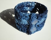 Navy Blue Degrade Lace Multicolor Crocheted Bracelet with Glass Buttons- READY TO SHIP
