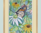Butterfly and flowers Original Watercolour painting