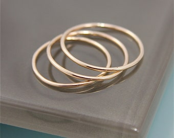 Thin Gold Rings 14k Solid Gold Set of 3 Simple Stacking Band Ring  Shiny Finish Eco-Friendly Recycled Gold