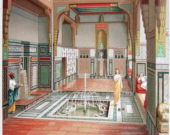 EGYPT Interior of Summer House at Cairo - 1888 COLOR Vintage Antique Print by A. Racinet