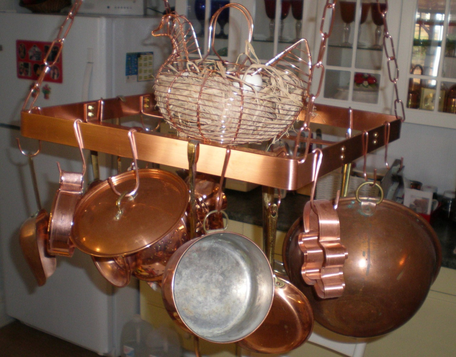18 Inch SQUARE Hanging Solid Copper Pot Rack With 16 Hooks And